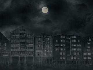 Oktober: Bybilde natt (sort/hvitt)